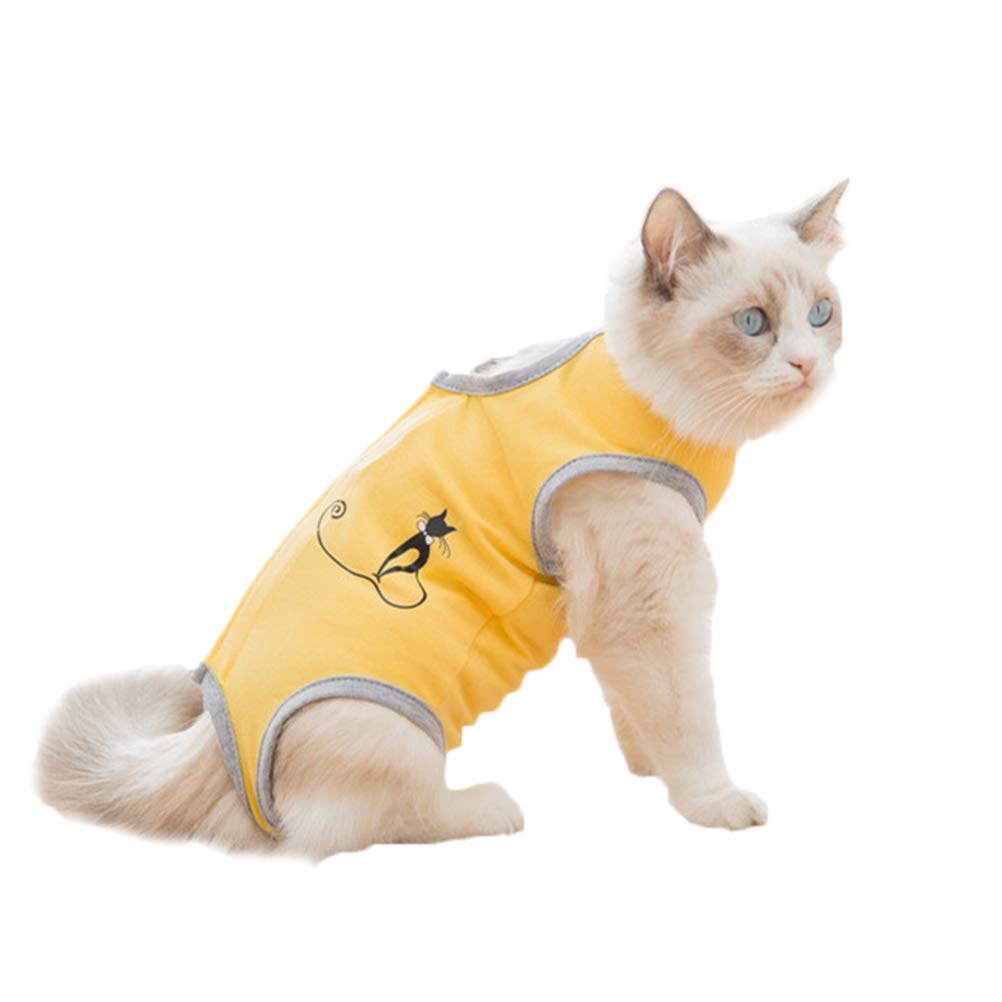 Balacoo Breathable Cat Recovery Suit for Surgery Wear, Anti-Lick Kitten Medical Surgical Suit, Weaning Suit for Cats (Yellow, S) by Balacoo