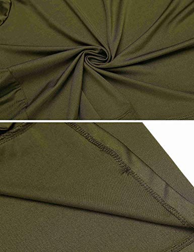 Courtes HX Bandage Manches Button Bowknot Bouffant Uni Manche fashion lgant Chic T Tshirt Armygreen Confortable Col Mode Et Vetement Rond Shirt Femme Haut Shirts Basic FwvxFrZAq