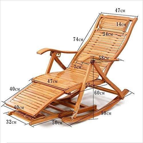 Chaise Longue Bambou Portable Bois Chaise À Bascule Cheveux pour Pause Déjeuner Maison Balcon Couché Chaise Été Siesta Lit Fauteuil Relax