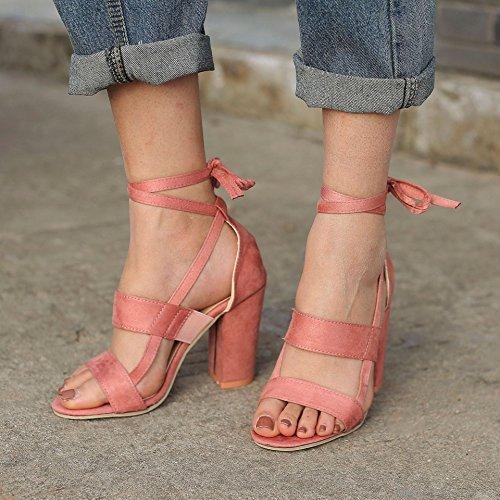 Sandals Tacco Scarpe Moda Blocco Peep Minetom Beach Donna Partito Casuale A Shoes Estate A Sandali Pink Toe Eleganti qgH7wfWn