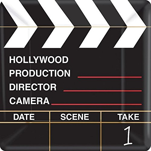 Hollywood Themed Party Costumes (Movie Night Hollywood Themed Party Director's Cut Clapper Dinner Plates Tableware, Paper, 10
