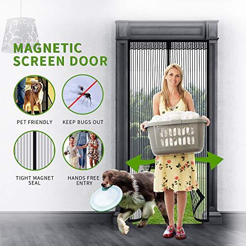 - Looch Magnetic Screen Door with Heavy Duty Mesh Curtain and DoorScreenMagneticClosure , Fits Door Up to 34