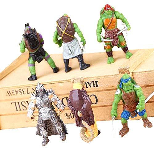 Teenage Mutant Ninja Turtles Figure Toy | Set of 6 | TMNT Collectible Figurines | Cupcake Topper [Raphael, Michelangelo, Donatello and Leonardo,Splinter,Utrom Shredder] | Kids Birthday Party Gift -