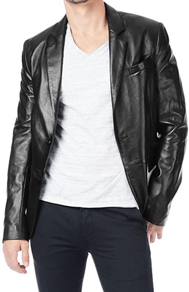 Classyak Men Fashion Genuine Leather Coat Classic Jacket
