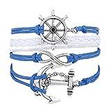 Sannysis Handmade Infinity Gold Rudder Anchor Rope Leather Weave Jewelry Bracelet DIY Best Friend Bracelet Blue