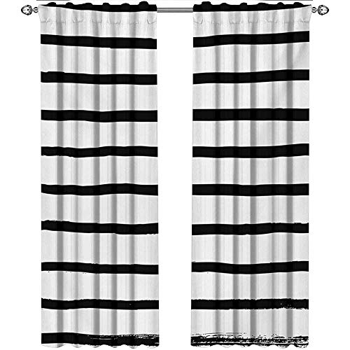 shenglv Modern, Curtains with Valance, Abstract Minimalist Horizontal Paintbrush Stripes Bands Simplistic Artful Design, Curtains Kitchen, W96 x L108 Inch, Charcoal Grey ()