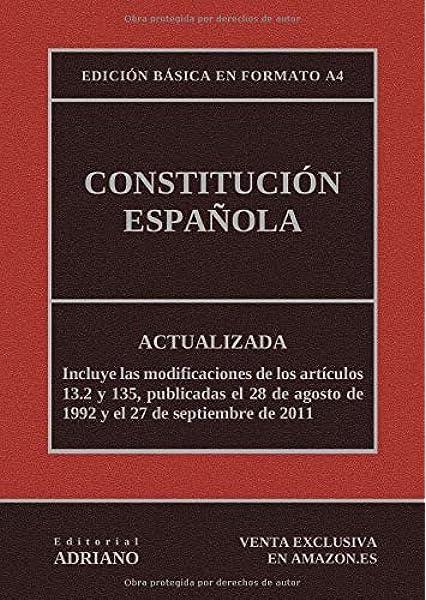 Constitución Española: Actualizada, incluyendo la última reforma recogida en la descripción: Amazon.es: Editorial ADRIANO: Libros