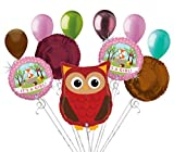 11pc Woodland Owl It's a Baby Girl Animals Balloon Bouquet Party Decoration Wood