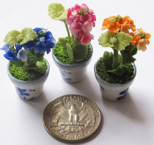 3 Lovely Mix Hydrangea Plant Flower Dollhouse Miniature ,Home Decoration