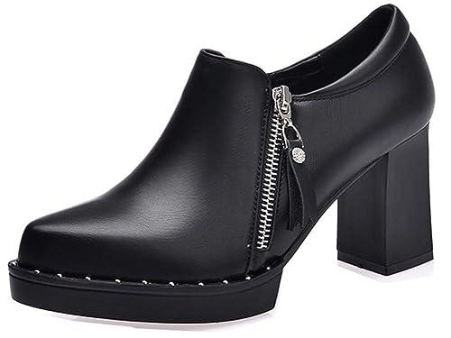 0341c541de5b5 Aisun Femme Mode Plateforme Bout Rond Noir Basse Richelieus avec Zip Noir  33 EU
