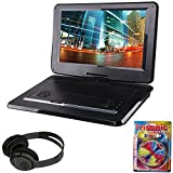 Sylvania 15.6'' Swivel Screen Portable DVD Player w/ USB/SD Card Reader Black (SDVD1566) + Bluetooth Bundle with Wireless Headphones