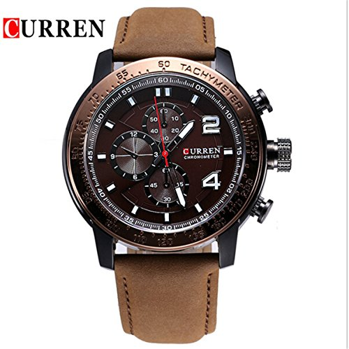 Vavna 2015 Top New Three Sub Dial Watches Mens Casual Military Sports Leather Analog Watches Clock   Brown