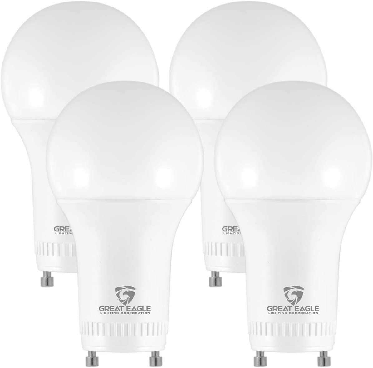 Great Eagle LED GU24 Base, A19 Shape, 9W (60W Equivalent), Dimmable, 3000K Soft White, 810 Lumens, UL Listed, Twist-in Light Bulb (4-Pack)