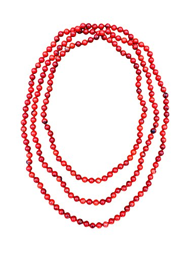 BjB 80 Inch Long 8MM Polished Red Magnesite Multi-layer Long Endless Infinity Beaded Necklace.
