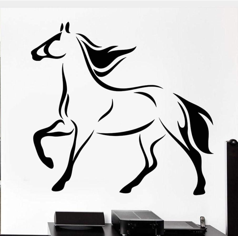 Calcomanías De Pared De Caballo Cascos De Caballo De Cola Pegatinas De Vinilo De Animales Mural De Arte Móvil Para Decoración Del Hogar Del Dormitorio 30X60Cm