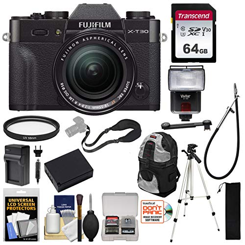 Fujifilm X-T30 Wi-Fi Digital Camera & 18-55mm XF Lens (Black) with 64GB Card + Battery + Charger + Tripod + Flash + Backpack + Kit