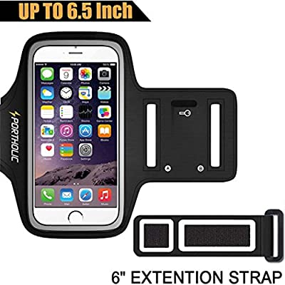 Large Running Armband for iPhone 8 Plus X 7 Plus 6s Plus 6 Plus, Samsung Galaxy S8 Plus, Note 8/3/4/5, LG G6 (fits Otterbox Defender/ Lifeproof case) Portholic Exercise Pouch Phone Holder-6.5 Inch by PORTHOLIC