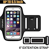 Large Running Armband for iPhone 8 Plus 7 Plus 6s Plus 6 Plus, Samsung Galaxy S8 Plus, Note 8/3/4/5, LG G6 (fits Otterbox Defender/ Lifeproof case) Portholic Exercise Pouch Phone Holder-6.5 Inch