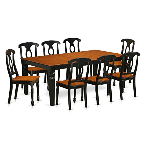 East West Furniture LGKE9-BCH-W 9 PC Table & Chair Set with One Logan Dining Table & Eight Dining Room Chairs in black & Cherry Finish