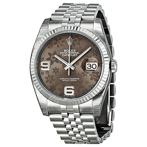 - Rolex Datejust Bronze Floral Dial 18kt White Gold Bezel Steel Ladies Watch 116234BRAFJ