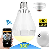Wireless LED Bulb WiFi IP Hidden Camera 360 Degree Panoramic 1080P HD Fisheye for IOS Android APP Remote Home Security System Support for Indoor Outdoor House Yard Office Baby Room Pet