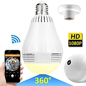 Wireless LED Bulb WiFi IP Hidden Camera 360 Degree Panoramic 1080P HD Fisheye for IOS Android APP Remote Home Security System Support for Indoor Outdoor House Yard Baby Room Pet by iCooLive