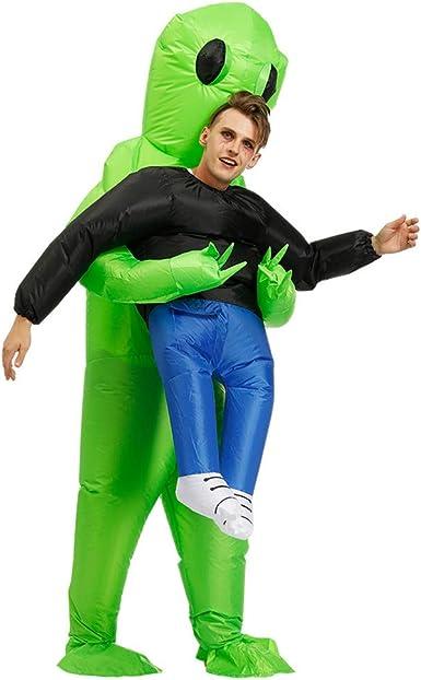 Inflatable Green Alien Costume for Kids Halloween Cosplay Party Fancy Dress Suit