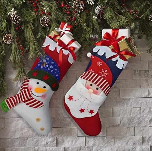 Oladwolf Calcetines de Navidad de 38 cm, Juego de 2 Calcetines de Navidad Santa/muñeco de Nieve para Regalo y Bolsa de Dulces para niños y decoración del ...