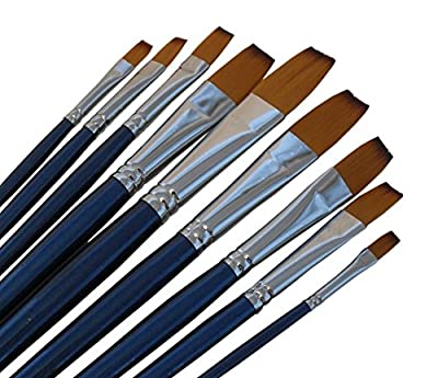 ARTIST PAINT BRUSHES - F - Professional Quality Black Tip, Golden Nylon, Long Handle, Flat Paint Brush Set - Ideal for Watercolor Painting and Gouache Color Painting, and Equally Useful for Acrylic Painting and Oil Painting. - The Natural Characteristics