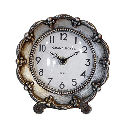 VIPSSCI Metal Table Clock Antique Style Silver with Medallion Style Back Ornate Design Mantle Shelf Desk Clock