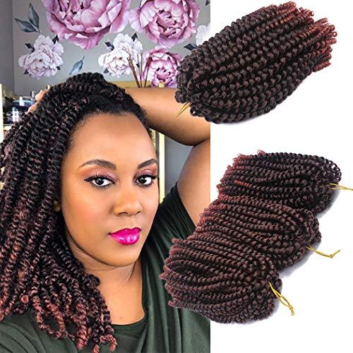 3 Packs Spring Twist Hair Bomb Twist Crochet Hair Braids Jamaican Bounce Synthetic Braiding Hair Extensions 8inch Spring Twist 110g (1B/350#) ()