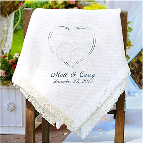 (Personalized Wedding/Couples Chenille Blanket/Afghan. Lightweight Embroidered 50