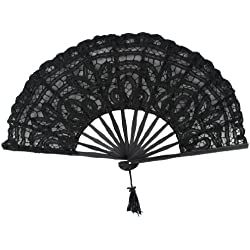 Estone Black Handmade Cotton Lace Folding Hand Fan For Party Bridal Wedding Decoration
