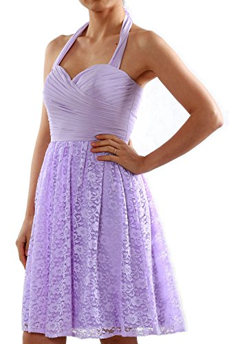 MACloth Women Halter Short Bridesmaid Dress Cocktail Wedding Party Formal Gown Blanco