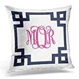 TORASS Throw Pillow Cover Cute Preppy Navy and Pink Greek Key Script Monogram Girly Decorative Pillow Case Home Decor Square 16 x 16 Inch Pillowcase