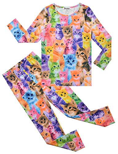 Girls Pjs Colorful Cat Pajama Sets Cotton Sleepwear Nighty Halloween Costume