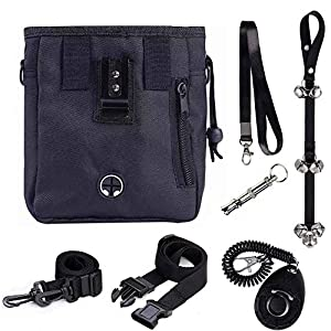 GXL Odibess Dog Treat Bags, 4 in 1 Puppy and Dog Training Essential Kit, Including Adjustable Waist Belt and Shoulder Strap, Bark Control Whistle/Potty House Train Doorbells/Dog Training Clicker 14