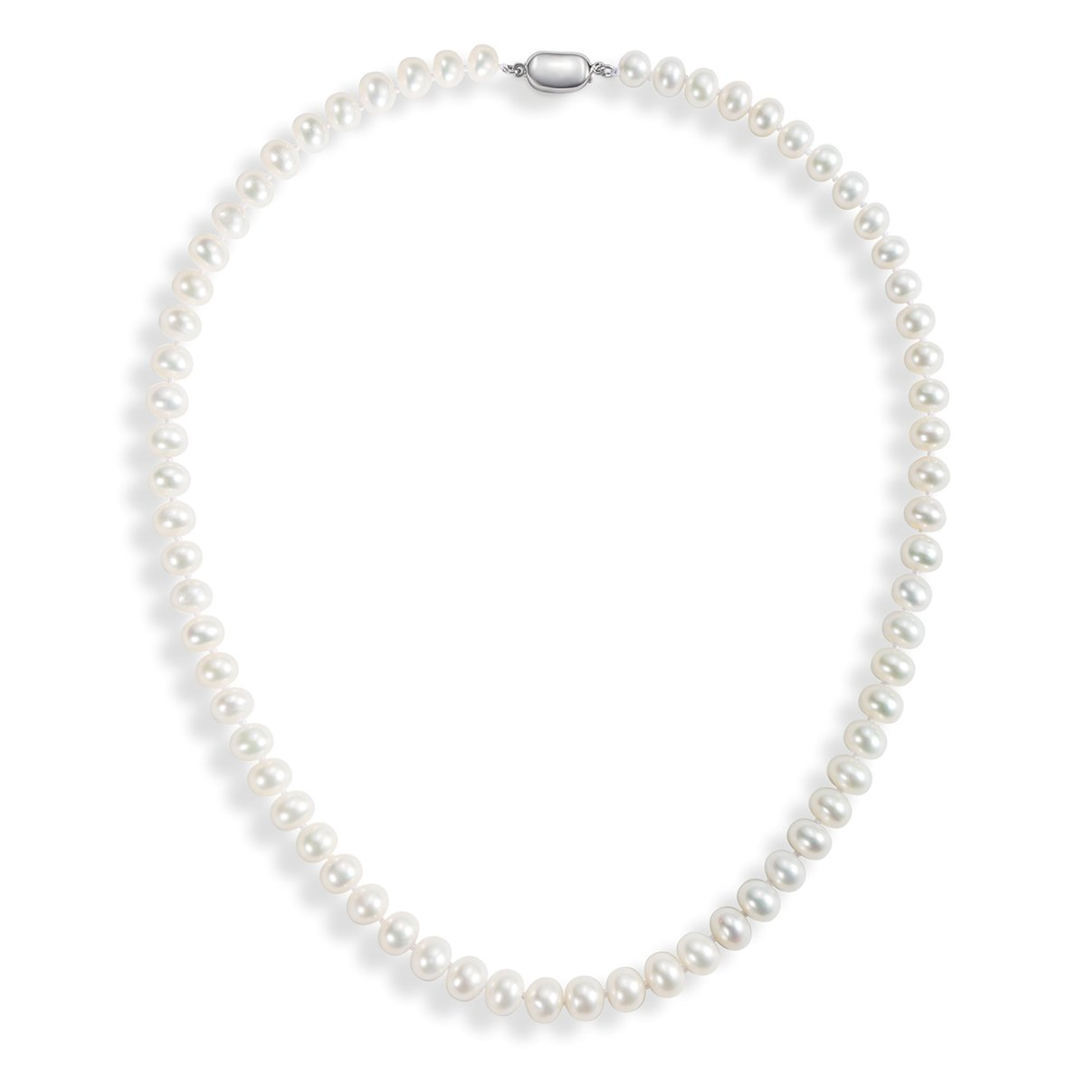 Carleen AA Quality Round White Natural Freshwater Cultured Pearl Strand Necklace for Women Girls with 925 Sterling Silver Buckle, 18'' String (7.0-7.5mm)