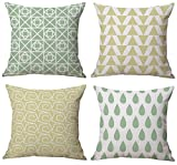 Cool Fresh Summer Style, Green Raindrops, Yellow Triangles, Cotton Linen Burlap Decorative Throw Pillow Covers Set of 4 for Couch, Sofa, Bedroom, Living room, 18x18 Inches, 45cm x 45cm (Light Yellow)