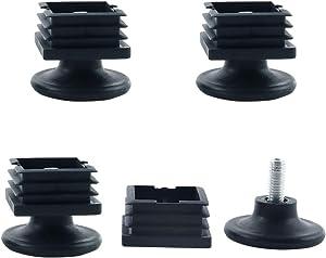 uxcell Leveling Feet 38 x 38mm Square Tube Inserts Kit Furniture Glide Adjustable Leveler for Shelves Chair Desk Leg 4 Sets