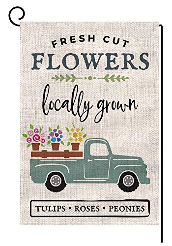 BLKWHT Tulips Roses Peonies Farmhouse Flowers Garden Flag Vertical Double Sided 12.5 x 18 Inch Spring Summer Truck Valentines Day Yard Decor