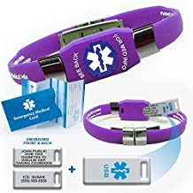 Waterproof purple silicone ELITE PLUS USB medical alert ID bracelet with 2 GB USB and custom engraving on exclusive acrylic plate (includes up to 10 lines of custom engraving)