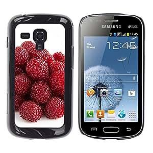 TopCaseStore / la caja del caucho duro de la cubierta de protección de la piel - Strawberry - Samsung Galaxy S Duos S7562