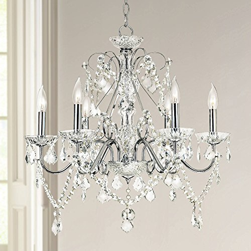 "Grace 23 1/2"" Wide Chrome and Crystal 6-Light Chandelier - Vienna Full Spectrum"