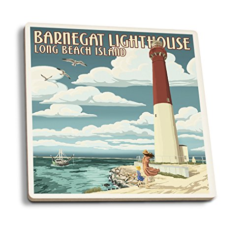 Lantern Press Long Beach Island, New Jersey - Barnegat Lighthouse (Set of 4 Ceramic Coasters - Cork-Backed, Absorbent) ()