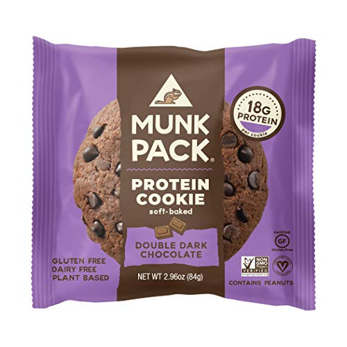 Munk Pack Protein Cookie | Double Dark Chocolate | 18G Protein | Vegan, Gluten Free, Dairy Free, Soy Free, Soft-Baked | 2.96oz, 12-Pack ()