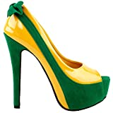 SHOW STORY Date Day Out Wedding Ladies Super High Heels,LF80805YL38,7US,Yellow