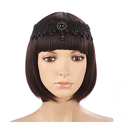 SL Black Victorian Gothic Lace Headband Choker Necklace Bracelet Mask Earrings Costume Set
