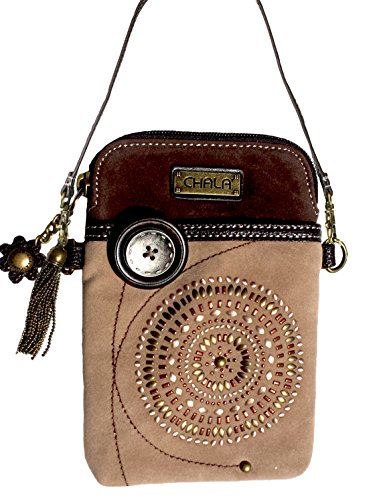 Suede Handbag Womens (Chala Crossbody Cell Phone Purse - Women Faux Suede Multicolor Handbag with Adjustable Strap - Starburst - Lt Brown)