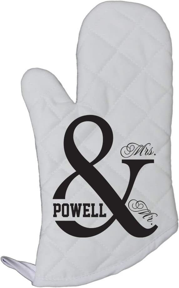 Personalized Custom Text Wedding Mr & Mrs Polyester Oven Mitt Kitchen Mittens
